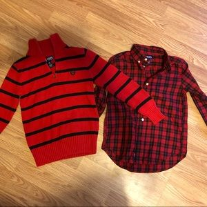 Chaps Plaid Shirt & Sweater 7/8